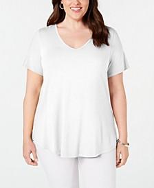 Plus Size Crisscross-Back V-Neck Top, Created for Macy's