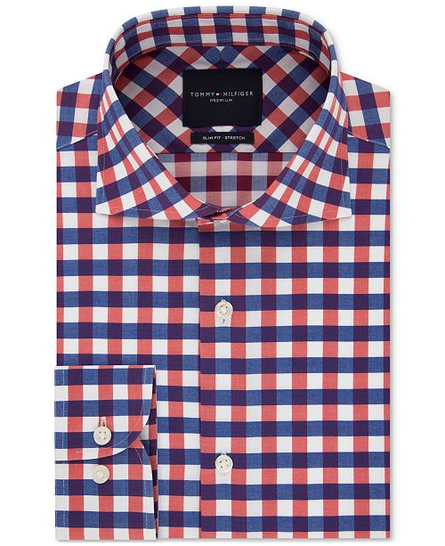 Tommy Hilfiger Men's Slim-Fit Non-Iron THFlex Supima® Stretch Bold Check Dress Shirt