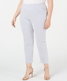 HUE® Plus Size Seersucker Cropped Leggings