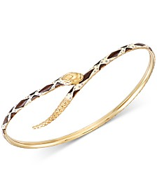 Snake Bypass Bangle Bracelet in 18k Gold-Plated Sterling Silver