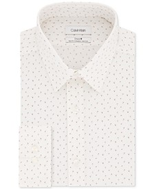 Calvin Klein Men's STEEL Slim-Fit Non-Iron Performance Stretch White Print Dress Shirt