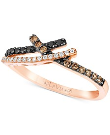 Le Vian Exotics® Diamond Crossover Statement Ring (1/4 ct. t.w.) in 14k Rose Gold