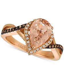 Le Vian® Peach Morganite™ (1-1/3 ct. t.w.), Vanilla Diamonds® (1/10 ct. t.w.) & Chocolate Diamonds® (1/6 ct. t.w.) Ring in 14k Rose Gold