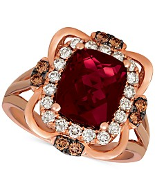 Le Vian® Raspberry Rhodolite (3-1/6 ct. t.w.) & Diamond (5/8 ct. t.w.) Ring in 14k Rose Gold