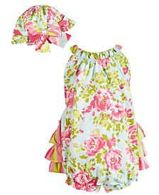 Bonnie Baby Baby Girls 2-Pc. Floral-Print Bubble Romper & Hat Set