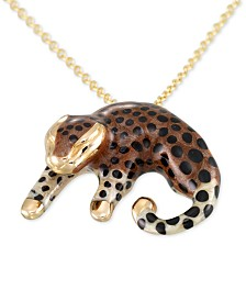 "Baby Leopard Enamel 18"" Pendant Necklace in 18k Gold-Plated Sterling Silver"