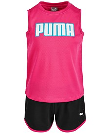 Puma Little Girls 2-Pc. Mesh Logo Tank Top & Shorts Set
