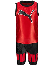 Puma Little Boys 2-Pc. Dazzle Muscle Tank Top & Shorts Set