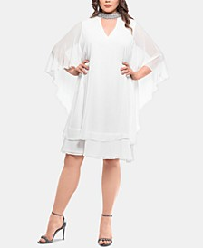 Plus Size Embellished-Neck Shift Dress