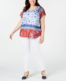 Style & Co Plus Size Printed Top & Slim-Leg Pants, Created for Macy's