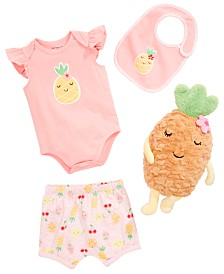 First Impressions Baby Girls Pineapple Graphic Bodysuit, Shorts, Bib & Plush Doll Separates, Created for Macy's