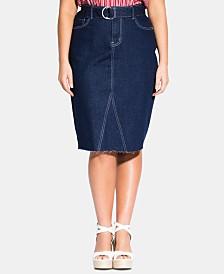 City Chic Trendy Plus Size Split-Seam Midi  Jean Skirt