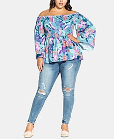 Trendy Plus Size Mystery Floral Top