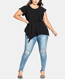 Trendy Plus Size Sassy-Hem Top