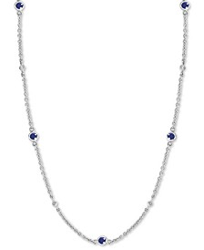 """EFFY® Sapphire (1-7/8 ct. t.w.) & Diamond (1/8 ct. t.w.) 24"""" Station Necklace in 14k White Gold(Also Available in Ruby)"""