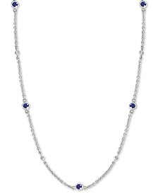 "EFFY® Sapphire (1-7/8 ct. t.w.) & Diamond (1/8 ct. t.w.) 24"" Station Necklace in 14k White Gold(Also Available in Ruby)"