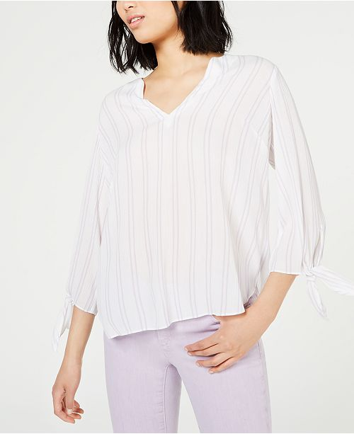 Michael Kors Double Stripe Tie-Sleeve Top