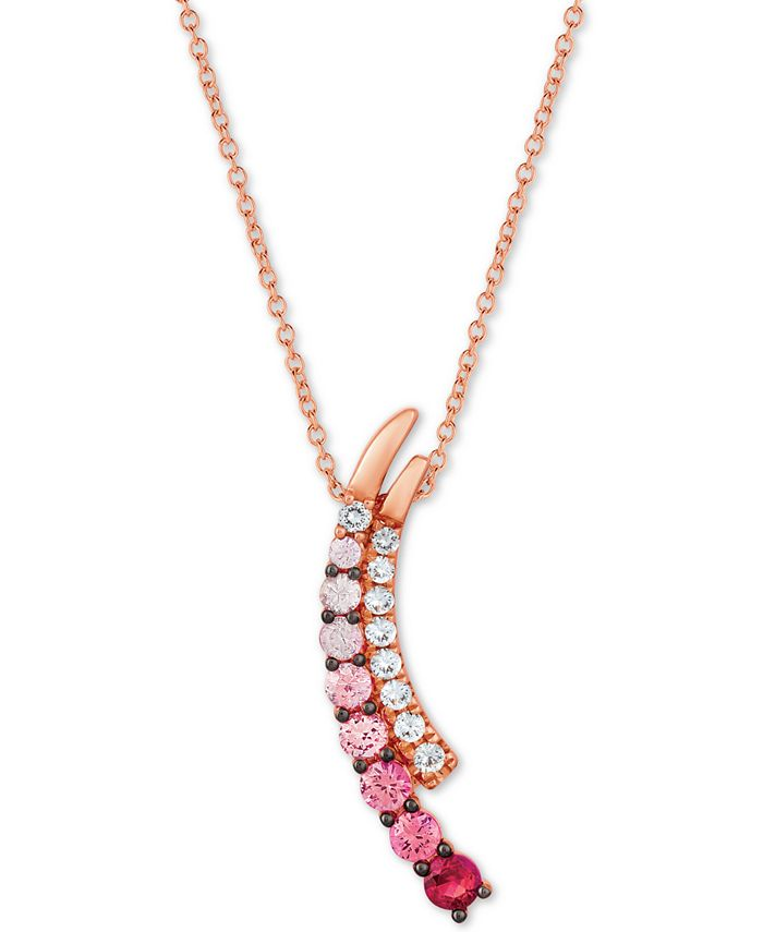 """Le Vian - Strawberry Layer Cake® Ruby Pink Sapphire (3/4 ct. t.w.) & Vanilla Sapphires (1/4 ct.t.w.) 18"""" Pendant Necklace in 14k Rose Gold"""