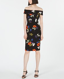 Calvin Klein Floral-Printed Off-The-Shoulder Dress
