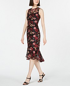 Sequined Floral Embroidered Flounce Dress
