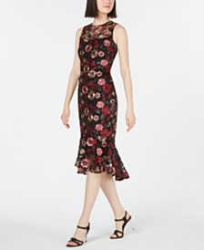 Calvin Klein Sequined Floral Embroidered Flounce Dress