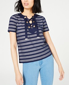 MICHAEL Michael Kors Striped Lace-Up Top, Regular & Petite