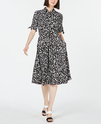 Floral Tie Sleeve Shirtdress by General