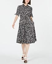 cdc44b2a4cd9 Calvin Klein Floral Tie-Sleeve Shirtdress