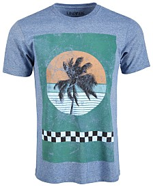 Univibe Men's Checker Palm Graphic T-Shirt