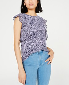 Michael Michael Kors Printed Flutter-Sleeve Top, Regular & Petite