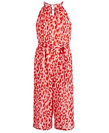 Sequin Hearts Big Girls Printed Halter Jumpsuit