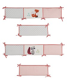 Lambs & Ivy Little Woodland Fox and Raccoon 4-Piece Baby Crib Bumper