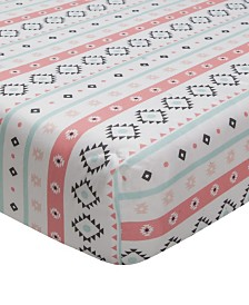Lambs & Ivy Little Spirit Southwest Geometric Stripe 100% Cotton Baby Fitted Crib Sheet