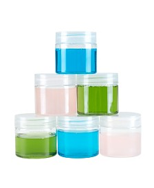 Trademark Global Clear 2 Ounce Plastic Jar Containers, 6 Pack of Plastic Storage Jars with Foam Liner by Stalwart