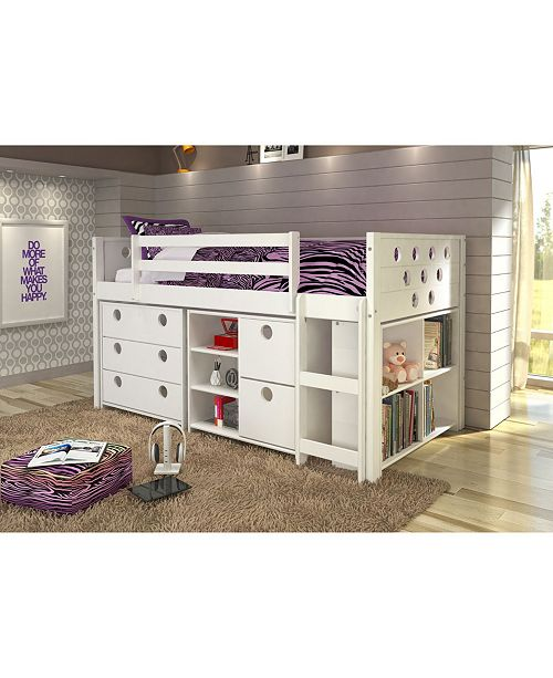 Donco Kids Twin Circles Low Loft Bed Group Set