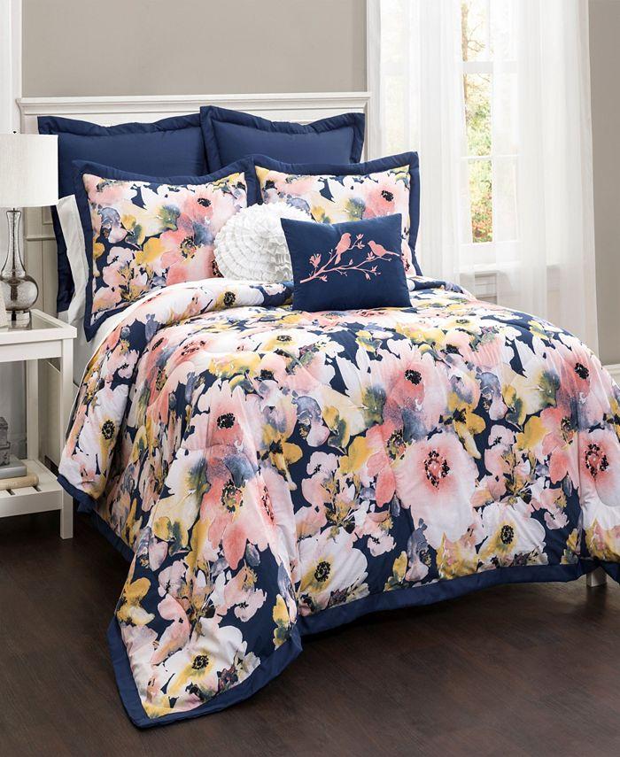 Lush Décor - Floral Watercolor Comforter Blue 7Pc Set King