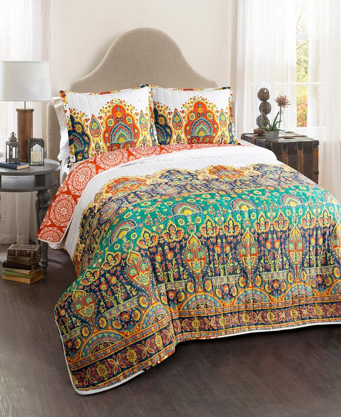 Lush Décor - Bohemian Meadow Quilt Orange/Turquoise 3Pc Set King