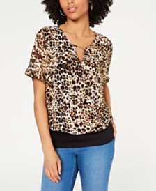 Thalia Sodi Animal Print Mixed-Materials Top, Created for Macy's