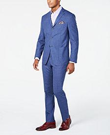 Tallia Orange Men's Slim-Fit Blue Mélange Suit