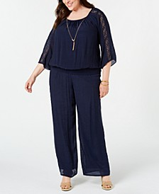 Plus Size Crochet-Sleeve Top & Gauze Pull-On Pants, Created for Macy's
