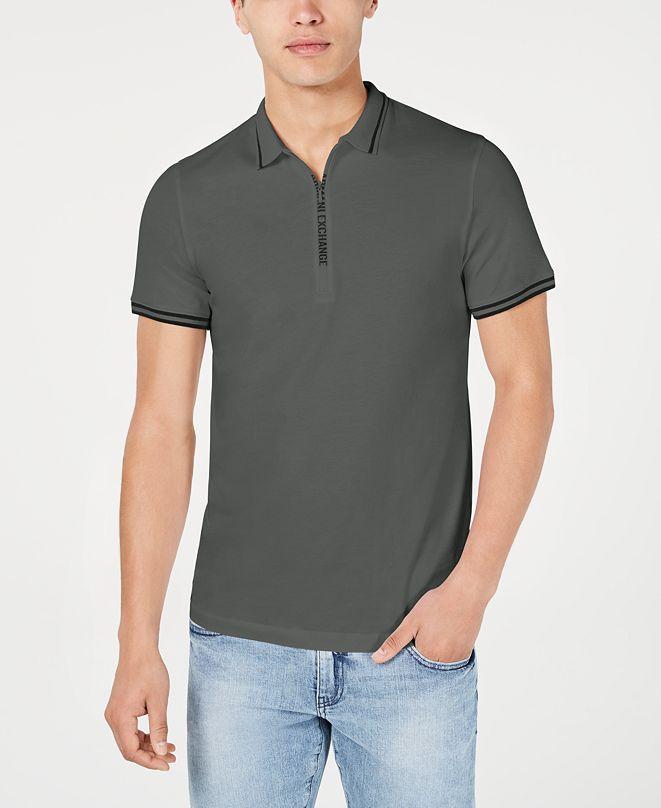 A|X Armani Exchange Men's Fixed Cotton Jersey Polo T-shirt