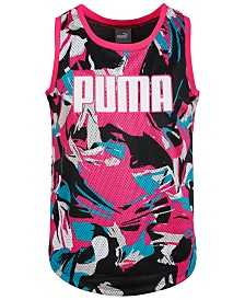Puma Big Girls Mesh Printed Tank Top