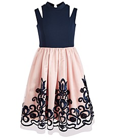 Big Girls Cutout Strap Soutache Dress