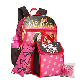 Bioworld Little & Big Girls 5-Piece Minnie Mouse Backpack & Lunch Kit Set