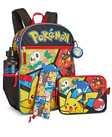Bioworld Little & Big Boys 5-Pc. Pokémon Backpack & Lunch Kit Set