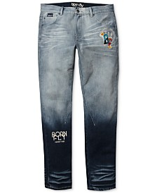 Born Fly Men's Big & Tall Graphic Jeans
