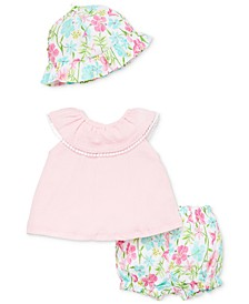 Baby Girls 3-Pc. Cotton Tunic, Bloomers & Sun Hat Set