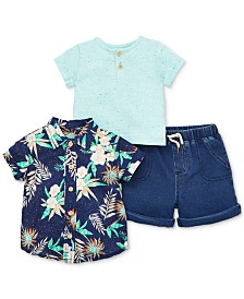 Little Me Baby Boys 3-Pc. Cotton Henley, Floral-Print Shirt & Shorts Set