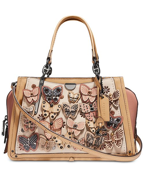 COACH Butterfly Appliqué Leather Dreamer Satchel