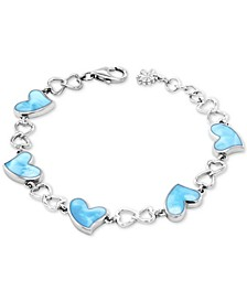 Larimar Heart Link Bracelet in Sterling Silver